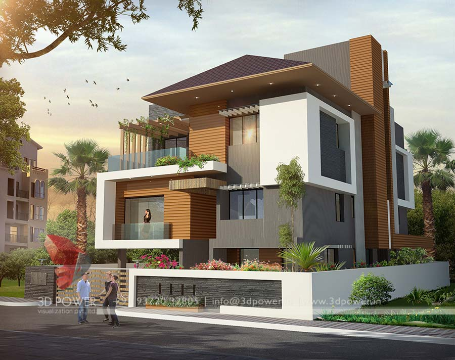Gallery 3d architectural rendering 3d architectural for 3 bhk bungalow plan and elevation