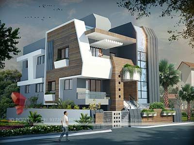 Modern bungalow design 3d render