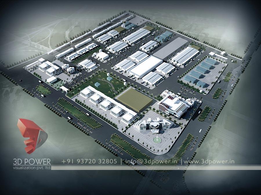 Birds Eye View 3d Industrial Render