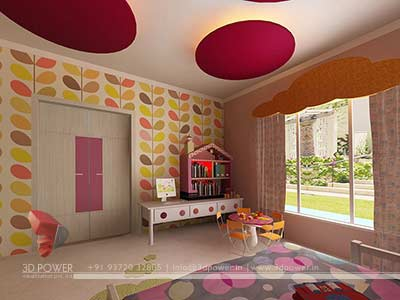 girls bedroom 3d interior design