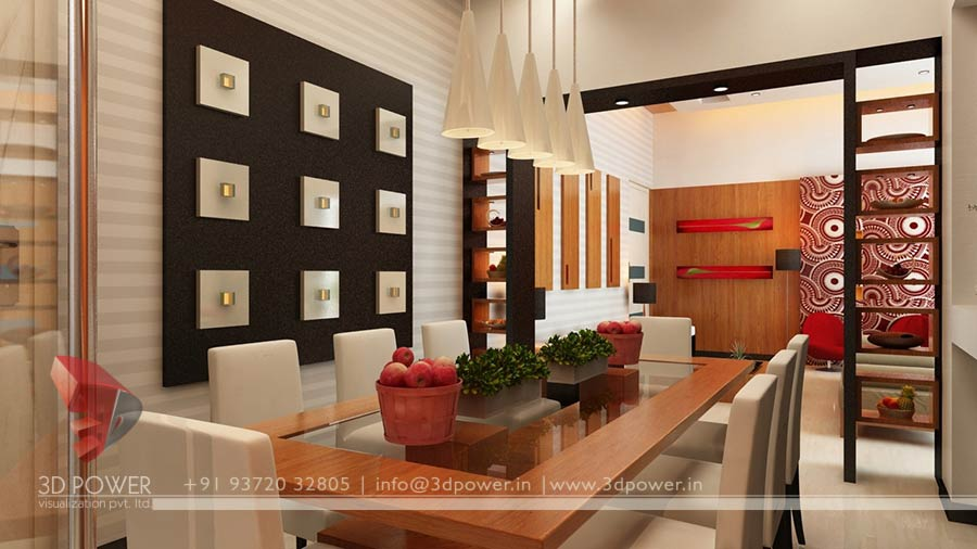 Amazing gallery 3d rendering services 3d architectural for Hall and dining area designs