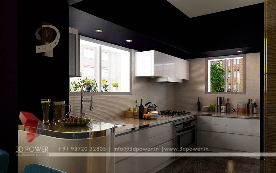 Traditional White Kitchen Design 3d Rendering: Amazing Gallery - 3D Rendering Services