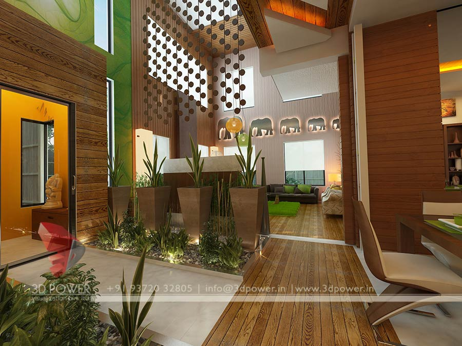 Bungalow Living Hall Interior Design Rendering