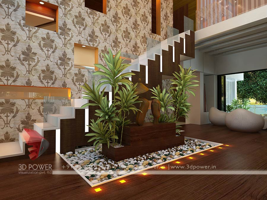 Gallery interior 3d rendering 3d interior for Living hall interior design