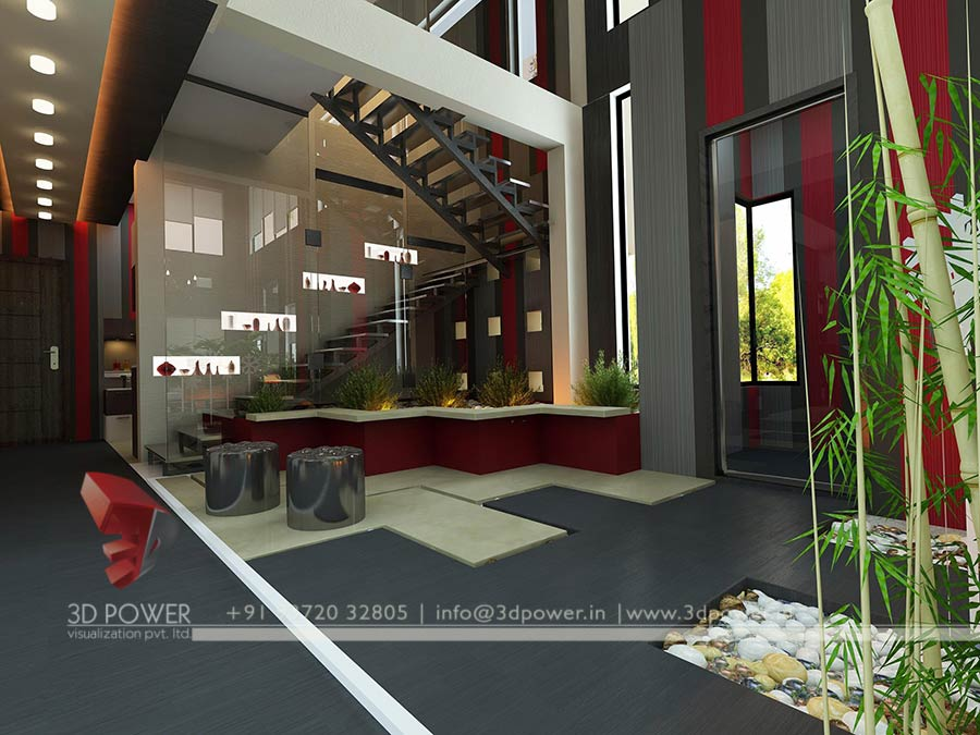 Gallery interior 3d rendering 3d interior - Modern house interior design ...