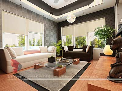 Living hall home 3d interior rendering
