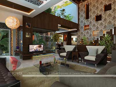 living room interior villa render