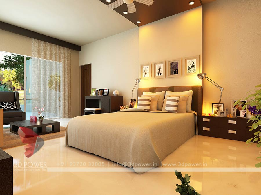Gallery interior 3d rendering 3d interior for Bed in living room ideas