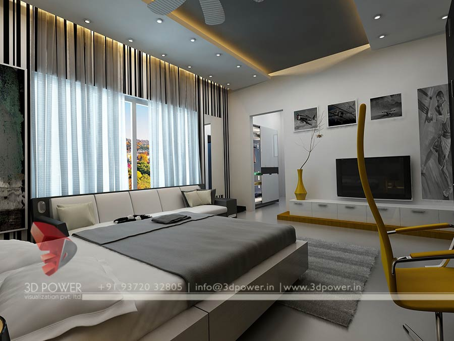 bedroom 3d interior .