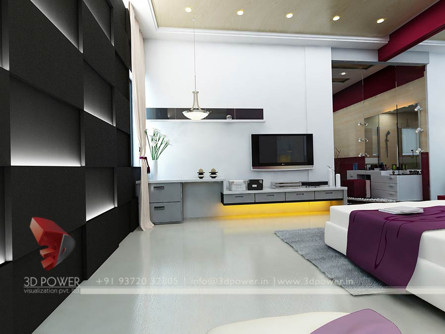 bedroom interior 3d design render