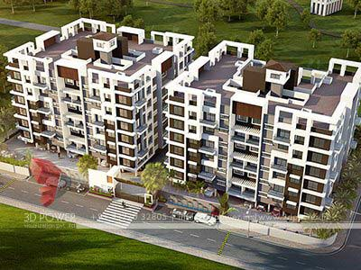 exterior view 3d design apartment township