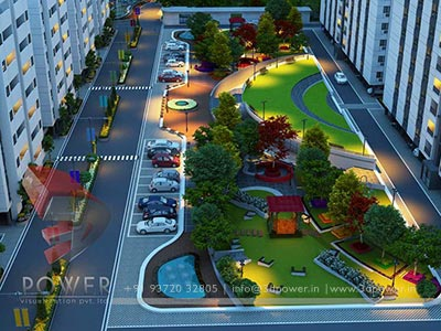 night view exterior garden township 3d