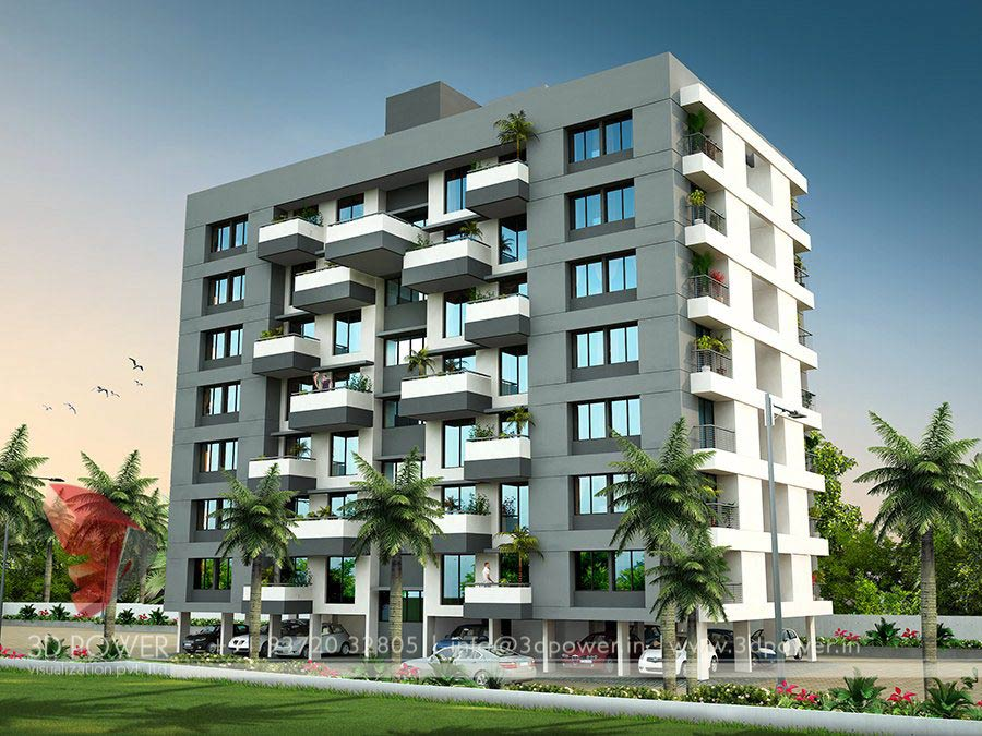 Gallery 3d architectural rendering 3d architectural for Apartment design exterior
