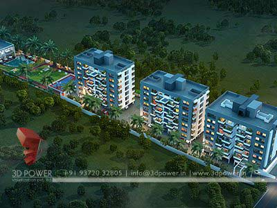 aerial night view design 3d