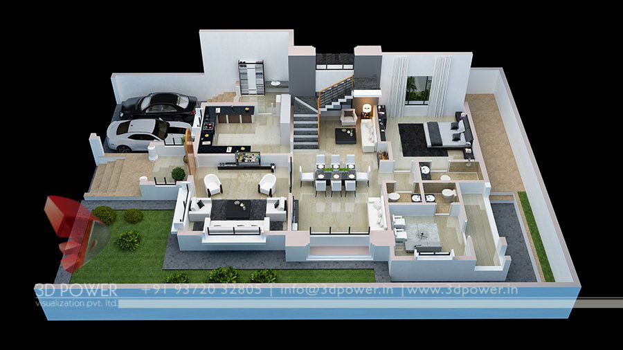 Cut section 3d power for One floor house design plans 3d