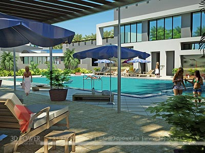 pool side view 3d design