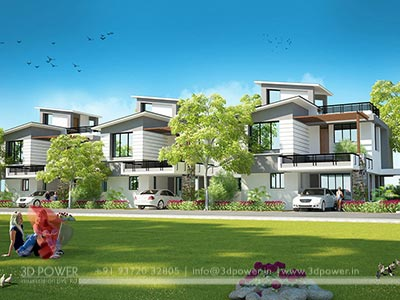 row house 3d design render