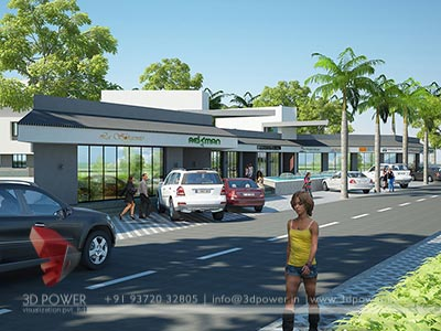 shopping complex 3d rendering