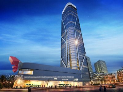 architectural-visualization-high-rise-commercial-rendering-night-view
