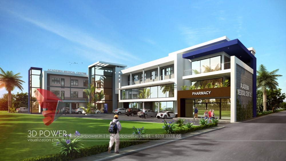... Elegant 3d Architectural Exterior Rendering Day View Wtih  Photorealistic Pharmacy Building ... Nice Look