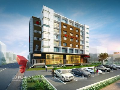 3 star hotel 3d elevation rendering day view with 3d  architectural visualization rendering