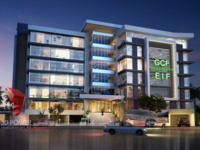 3d architectural visualization rendering building exterior night view design