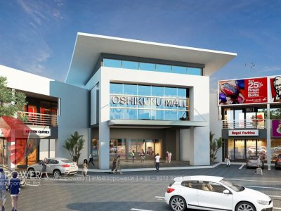 commerical shopping mall 3d exterior day view  architectural visualization 3d rendering