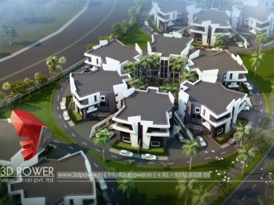 3d bird eye view township visualization rendering