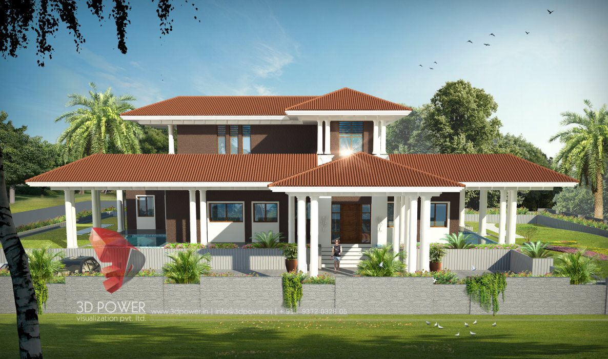3d front view visualization 3d front elevation 3d power - Bungalow architektur ...