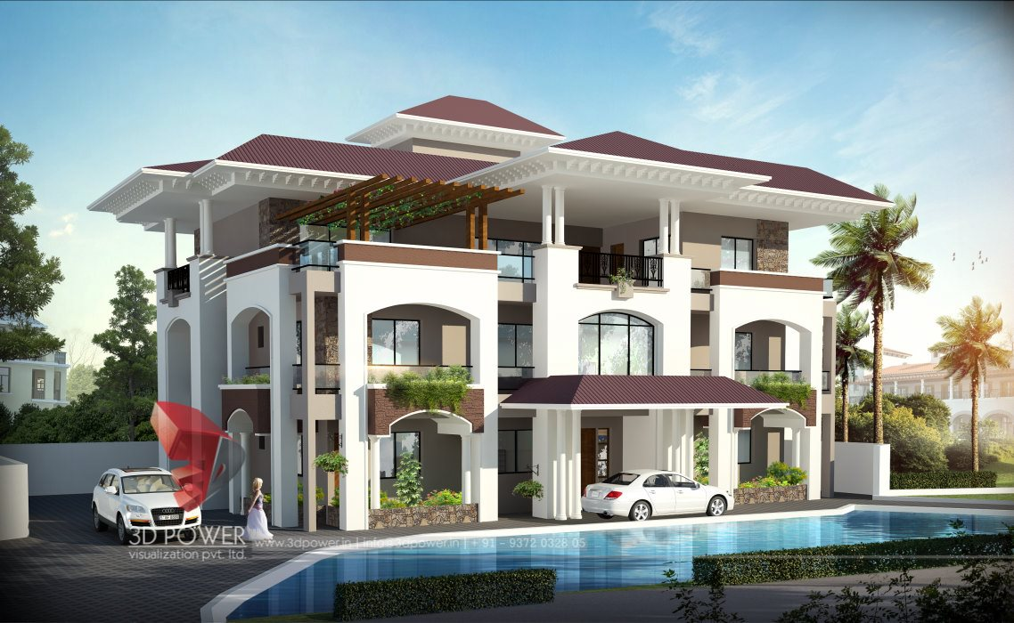 Villa Rendering Visualization 3D Architectural Villa Elevation ...