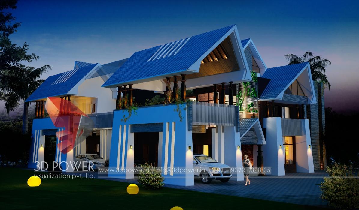 3D Architectural Night View Rendering. Villa Nightmode Visualization 3D  Architectural Nightmode Villa Exterior ...