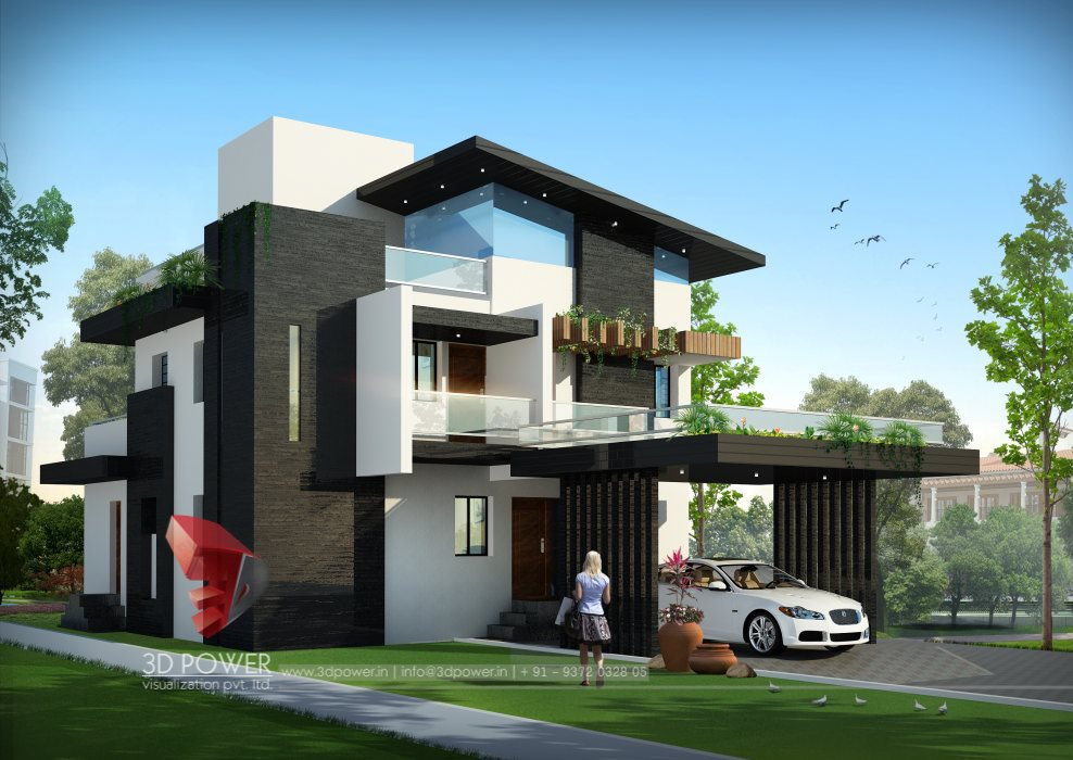 Bungalow elevation designing interior elevation 3d power for Architecture design small house india