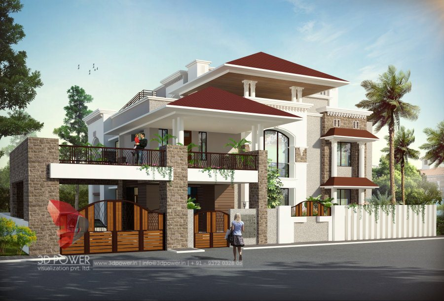 3d bungalow design 3d modern bungalow rendering for Bungalow plans and elevations