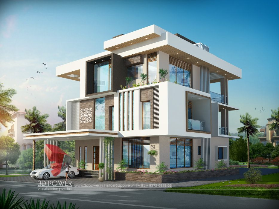 3d bungalow design 3d modern bungalow rendering Indian bungalow design