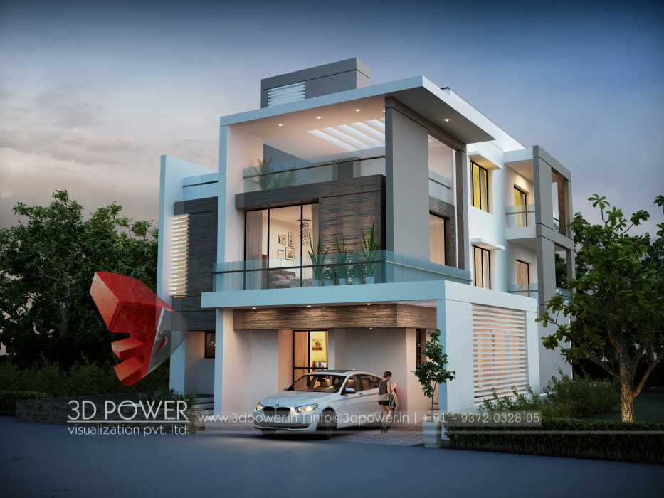 Villa 3d rendering modern villa 3d interior rendering for Small house design in kolkata