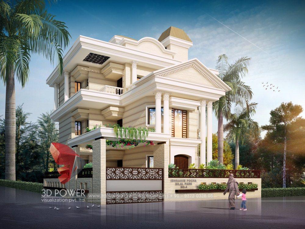 3d bungalow design 3d modern bungalow rendering for Desin 3d