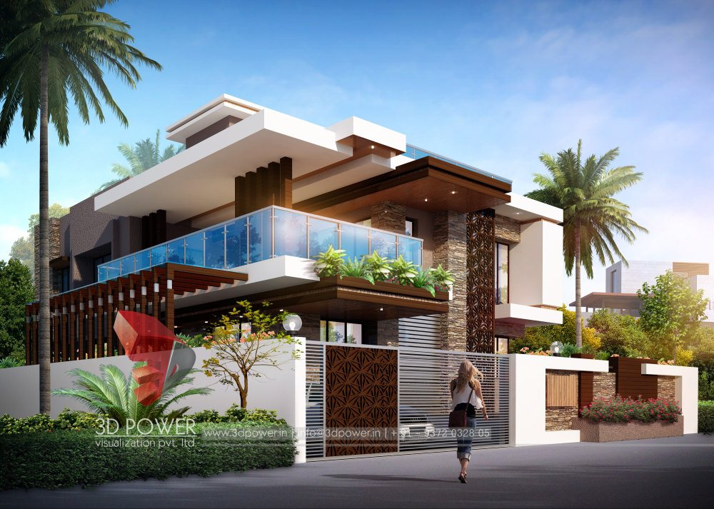 Front Elevation Slanting Roof Design : Bungalow elevation designing interior d power