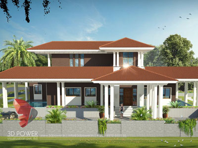 3D Architectural villa Cut Section