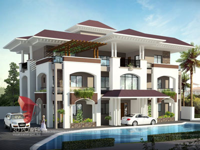 Wonderful Villa Rendering Visualization 3D Architectural Villa Elevation ...