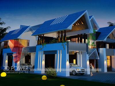 3D Architectural nightmode villa Exterior