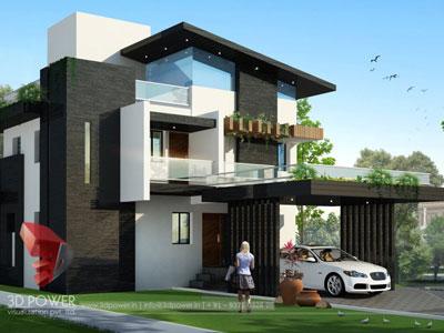 3D Architectural Villa Front View