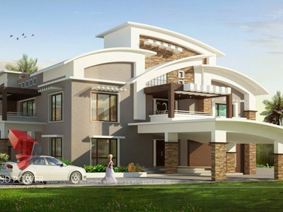 3D Architectural Villa Front Views