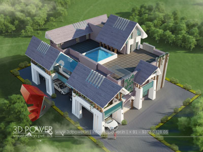 3d Villa Rendering Visualization