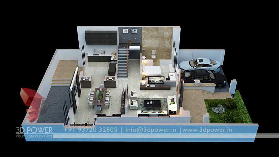 Apartment Ground Floor Plan 3d Design View
