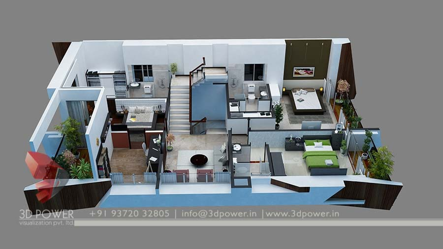 ... House Plan 3d Rendering Cut Section Desgin