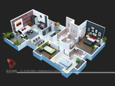 apartment second floor  3d floor plan view