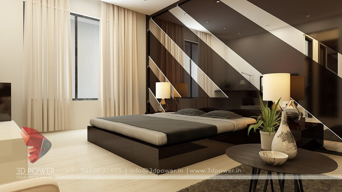 Wonderful Bedroom Interior. 3d Architectural Bedroom Interior Design ...