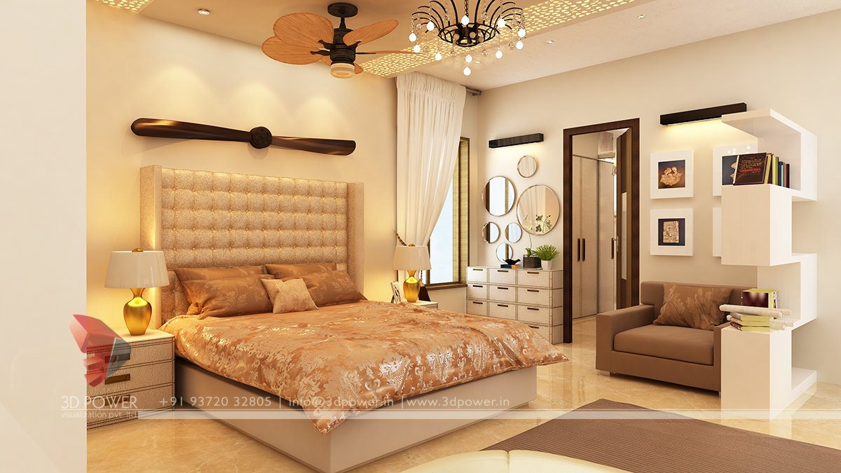 Bedroom 3D Design interior elevation | 3d interior elevations | 3d power
