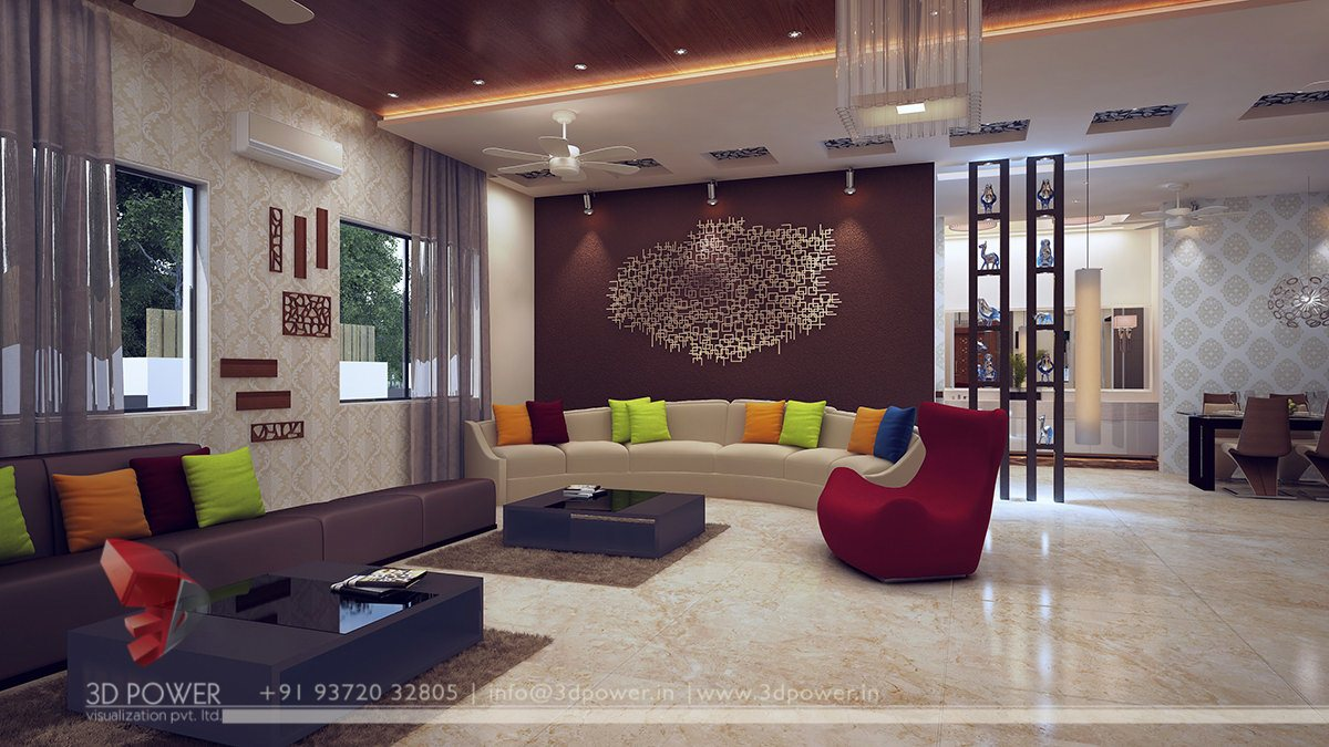 Modern living room interior interior design 3d rendering for Interior furniture design for living room