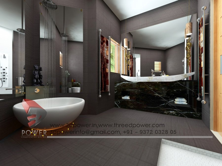 Bathroom interiors bathroom designs 3d power for 3d bathroom decor